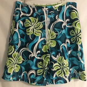 Speedo Swim Trunks Suit Large Blue Green White